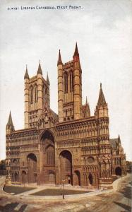 Lincoln Cathedral, West Front, Lincoln, England, Early  Postcard, Unused