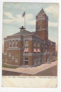 DE Wilmington US Post Office Ninth and Shipley 1907 Vintage UDB Postcard