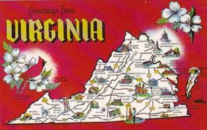 Greetings From Virginia With Map