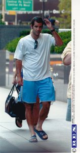 Pete Sampras Arrives in New York for US Tennis Open 2002 Press Photo