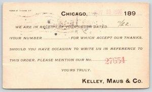 Chicago~Kelley Maus & Co Receipt~Heavy Hardware~Iron/Steel Equipment 1898