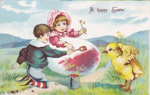 A happy Easter, Girl and Boy painting a huge egg, chick flapping wings, 00-10s
