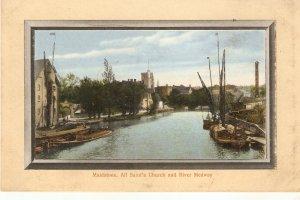 Maidstone. Akk Saints Church and River Medway Tuck Framed Aquagraph  Ser. PC