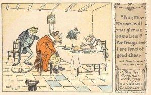 Frog & Miss Mouse Randolph Caldecott Fantasy Art c1910s Vintage Postcard