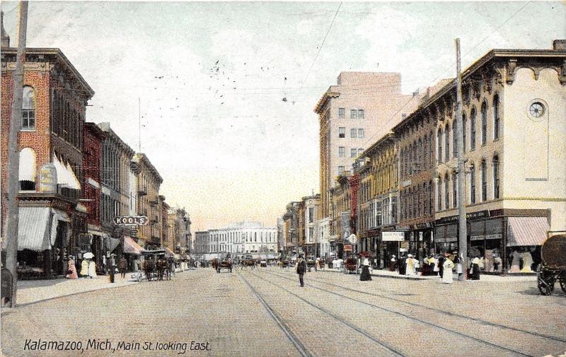 Kalamazoo Michigan~Main Street E~Storefronts~Kools~Clock~Victorian People~1908