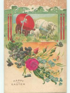 Unused Pre-Linen easter LAMBS PULL LARGE EGG ON WAGON k2103