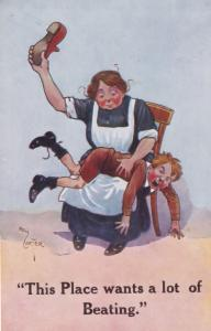 Strict Grandmother Spanking Young Man Antique Comic Postcard
