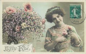 Glamour beauty lady fancy dress flowers greetings postcard