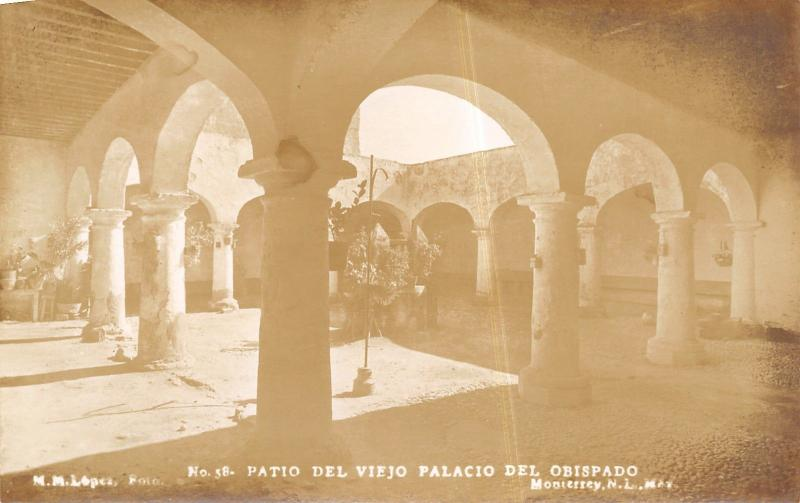 Monterrey~View From Under the Arches Of The Bishop's Palace Courtyard RPPC1940s