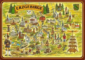 Map Postcard, Erzgebirge, Chemnitz, Freiberg, Zwickau, Germany, Deutschland 32S