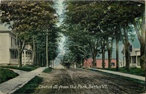 Barton Vermont~Church Street from the Park~Homes~Dirt Road~1914 Postcard