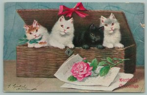 Cats~Four Kittens Peek Out Wicker Basket~Hinged Lid~Red Rose~Bow~Artist Signed