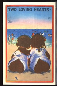 Two Loving Hearts Black Ethnic Stereotype Two Kids on the Beach Linen