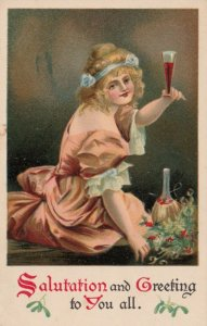 Salutations & Greetings to you all, Woman toasting with glass of wine, 1900-10s