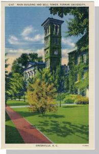 Greenville,SC Postcard,Furman University/Bell Tower, Nr Mint