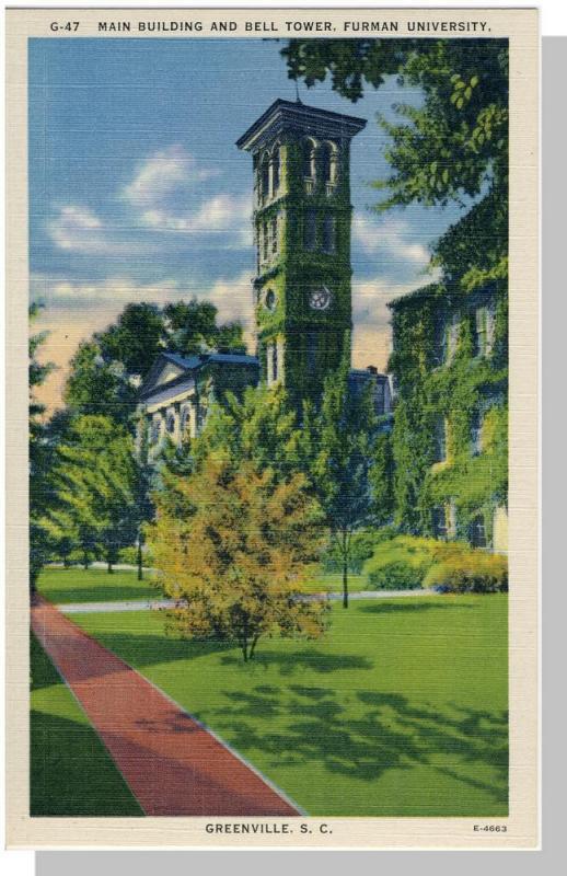 Greenville,SC Postcard,Furman University/Bell Tower, Nr Mint