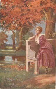 Schill. Lady. Will he loves me? Fine painting, vinage German postcard