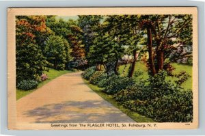 South Fallsburg NY, Scenic Greetings Flagler Hotel Linen New York c1944 Postcard