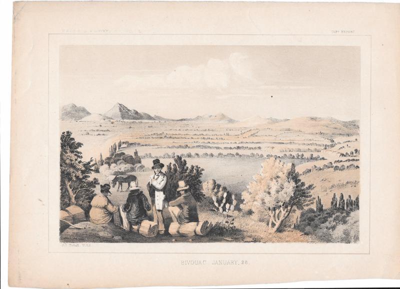 USPRR Survey 35th Parallel Bivouac Jan 28th Wyoming 1855 Lithograph