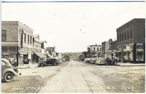 Chamberlain SD Main Street Beer Halls Drug Stores Cars Real Photo RPPC Postcard