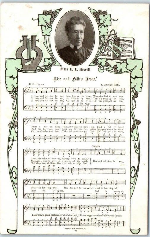 c1900s Songsheet Music Postcard Rise and Follow Jesus by Miss E.E. Hewitt