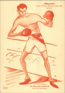 Suisse Swiss Boxing Caricatures Boxers Chocolats Suchard Set 6 Postcards gfz