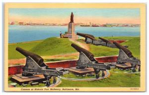 Mid-1900s Cannons at Historic Fort McHenry, Baltimore, MD Postcard