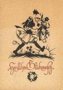 Vintage 1947 Germany Greetings Card, Congratulations, herzlichen Glückwunsch 11R