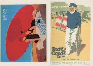 East Coast By LNER 2x Railway Poster Postcard s