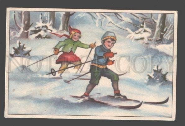 088766 SKIING Kids in Forest Vintage Colorful PC