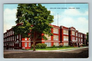 Ashland OH, Ashland High School, Linen Ohio c1947 Postcard