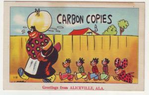 PC64 JL linen postcard carbon copies greeting aliceville ala