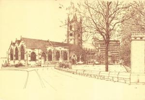 Postcard Art Sketch Drawing PLYMOUTH St Andrews Church DEVON