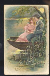 SPOONING IN SEDALIA MISSOURI EMBOSSED LOVERS VINTAGE POSTCARD MO.