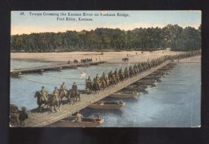 FORT RILEY KANSAS TROOPS CROSSING THE KANSAS RIVER BRIDGE VINTAGE POSTCARD