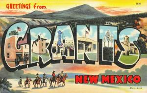 Grants New Mexico~Large Letter Linen Postcard~Yucca Hotel~California Cafe~1942