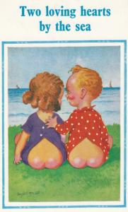 Two Loving Hearst By The Sea Children Watching Boats Ship Comic Humour Postcard