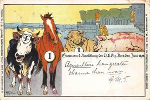 Grus Aus Dresden Germany Artist signed 1898 Pioneer Postcard