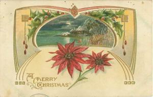 1910 Christmas Postcard Poinsettias, Cottage on Water, Gold Trim, Embossed
