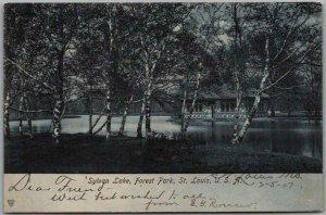 St Louis, Missouri Postcard Sylvan Lake, Forest Park Pavilion View 1907 Cancel