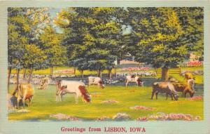 Lisbon Iowa~Cows Grazing in Pasture~Stone Wall Bknd~Colorful Flowers~1952 Pc