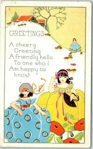 Embossed Greetings Postcard A Friendly Hello Girls Colorful Dresses UNUSED
