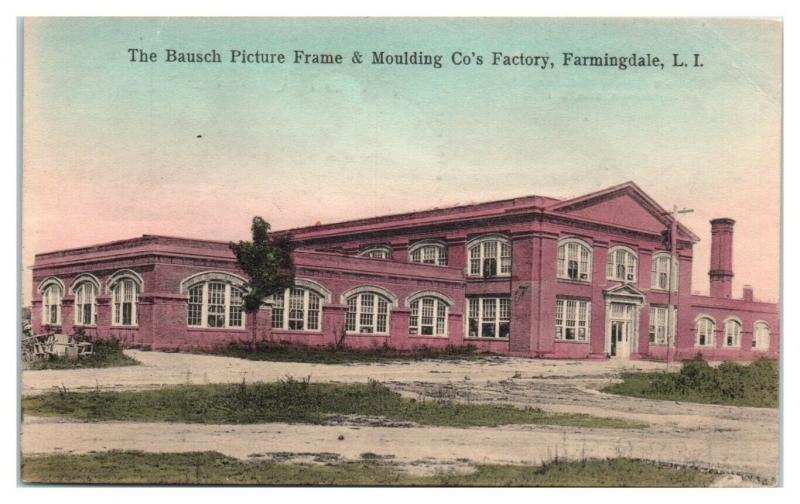 Bausch Picture Frame Co. Factory, Farmingdale, Long Island, NY Postcard *4W