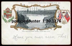 1276 - GRAND FALLS NB 1906 View from Bridge. Patriotic Flags Beaver by Warwick