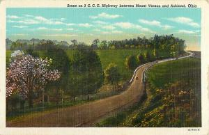 Linen View of 3 C.C.C. Highway between Mt. Vernon & Ashland