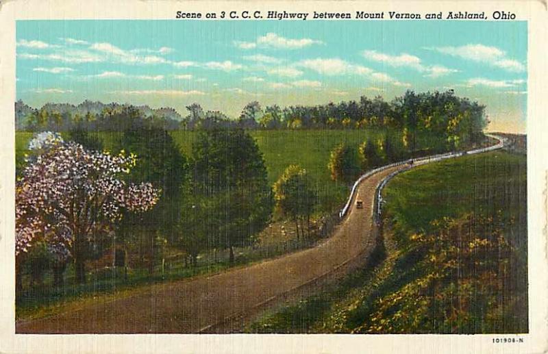 Linen View of 3 C.C.C. Highway between Mt. Vernon & Ashland