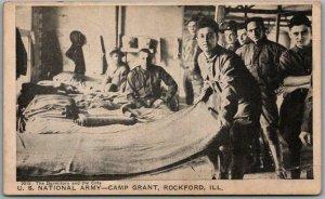 CAMP GRANT Rockford Ill. Postcard Barracks Dorm / Cots Army WWI 1917 RPO Cancel