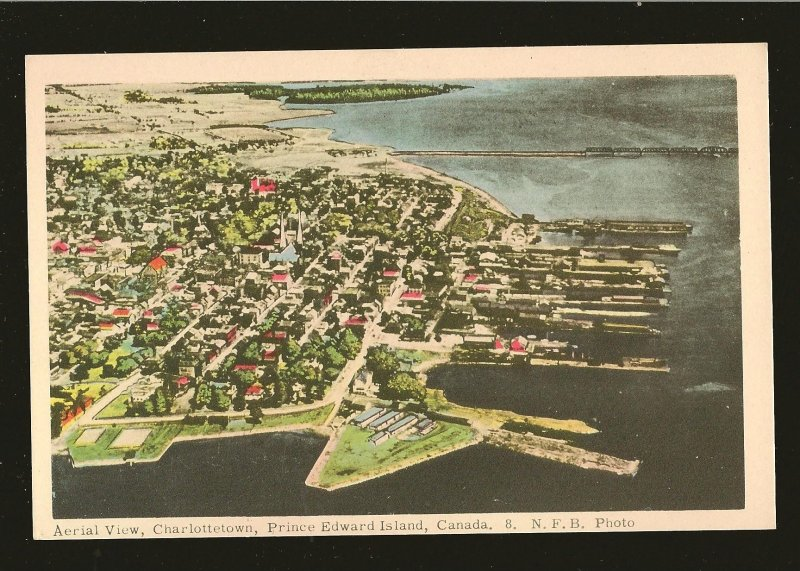 Vintage Aerial View Charlottetown Prince Edward Island NFB Photo Postcard