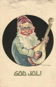 GOD JUL!, Swedish Christmas Postcard, Gnome play Mandolin (1910s) Signed Meijer