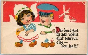 1910s WINSCH Comic Postcard Dutch Boy Girl Der Best Girl in Der Vorld… Unused